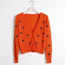 Black Cat V-Neck Cardigan orange at The Great Cat Store