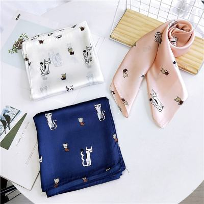 Cute Cat Print Square Scarf