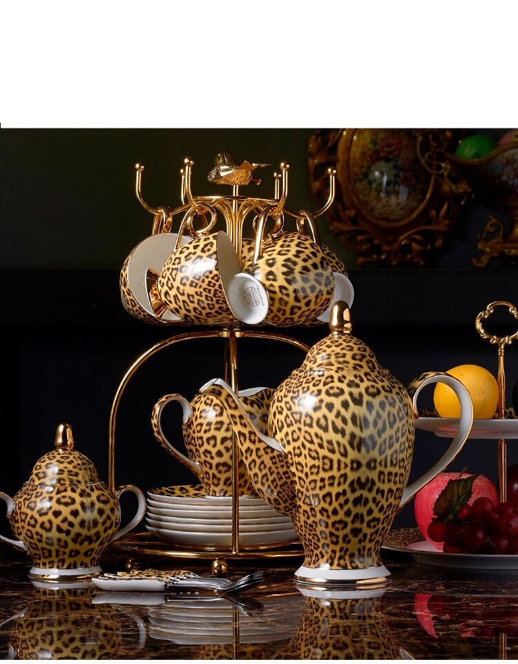 Leopard Print Bone China Coffee-Tea Set