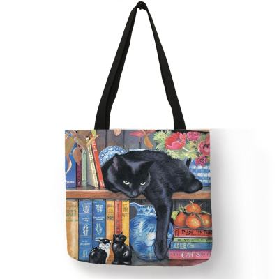 Cat Design Linen Tote Bags