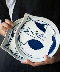 Japanese Style Ceramic Cat Plates