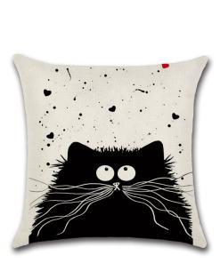 Cute Black Cat Linen Pillow Covers