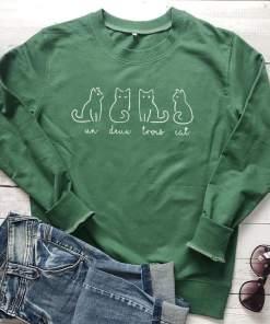 Un Deux Trois Cat Crewneck Sweatshirt