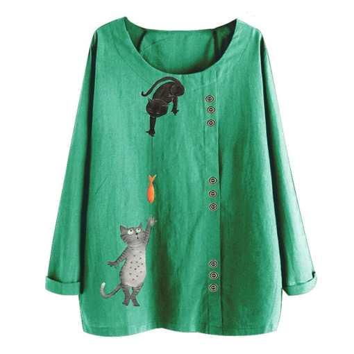 Cat Fish Pattern Cotton Linen Blouse