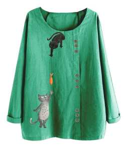 Cat Fish Pattern Cotton Linen Blouse