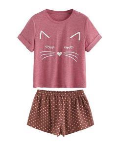 Cute Cat Themed Pajama Set