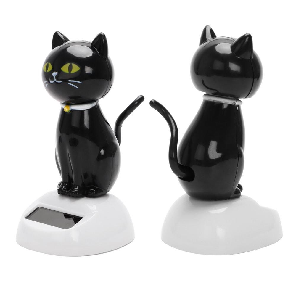 Black Cat Calico Cat Solar Powered Dashboard Decoration