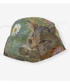 Cat and Bird Art Face Mask
