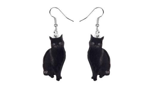 Acrylic Black Cat Drop Earrings