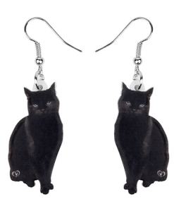 Acrylic Black Cat Drop Earrings