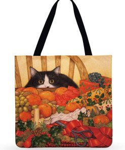 Assorted Cute Cat Themed Linen Tote Bags