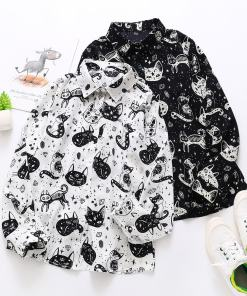 Cute Black Cat Long Sleeve Blouse