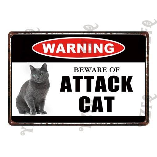 Warning Beware Of Attack Cat Signs