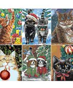 Assorted Paint By Numbers Christmas Cats