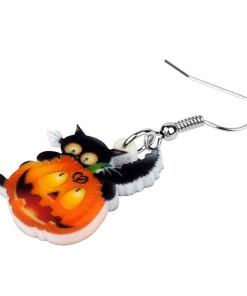 Halloween Black Cat Pumpkin Acrylic Drop Earrings are a great way to accent your Halloween costume or just wear as a subtle decoration. These unique cat earrings will express your love of black cats and your love of Halloween. Not available in any stores.