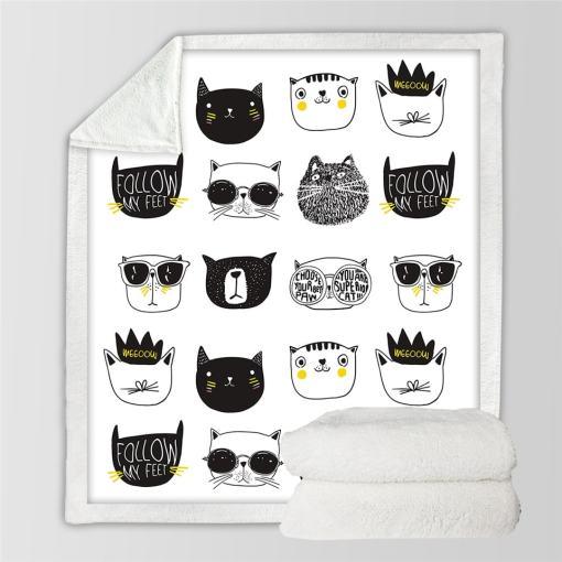 Various Cat Design Throw Blankets