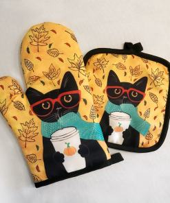 Assorted Cute Cat Themed Potholders Oven Mitts
