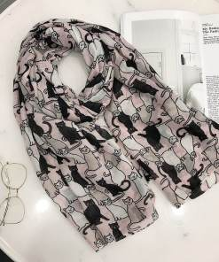 Cotton Black Cat Scarf Shawl