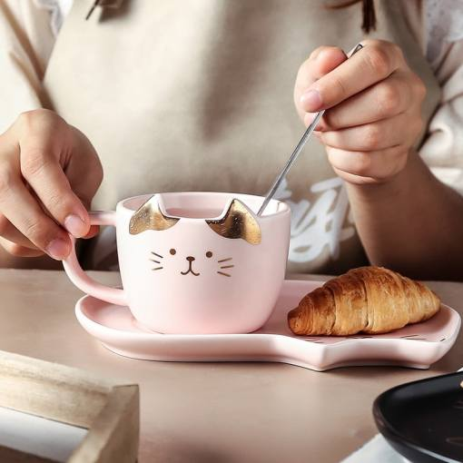 Cat Face Ceramic Coffee Cup, Saucer, Spoon Set