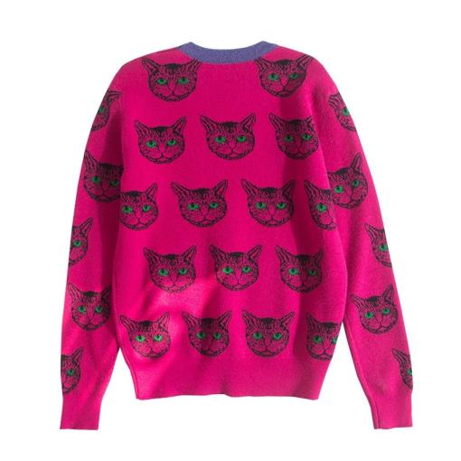 Cute Cat Face Knitted Sweater