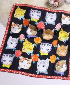 Cat Face Design 100% Pure Silk Scarf