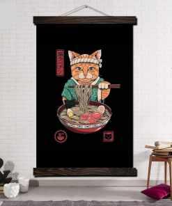 Lovely Ramen Cat Poster Scroll Print