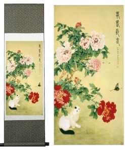 Cat and Butterfly Traditional Chinese Art Painting Silk Scroll