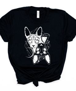 Cool Twin Sphynx Cat Goth T-Shirt