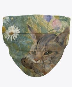 Cat and Bird Art Face Mask
