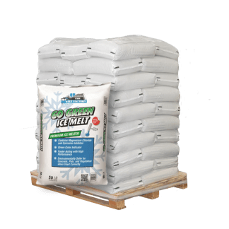 50lb bag of Go Green Ice Melt in front of pallet