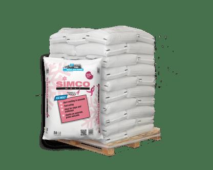 50lb bag of Rock Salt in front of pallet