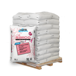 50lb bag of Rock Salt in front of pallet