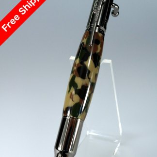 Hand Crafted 30 Caliber Bolt Action Pen - Digital Woodland Camouflage Barrel