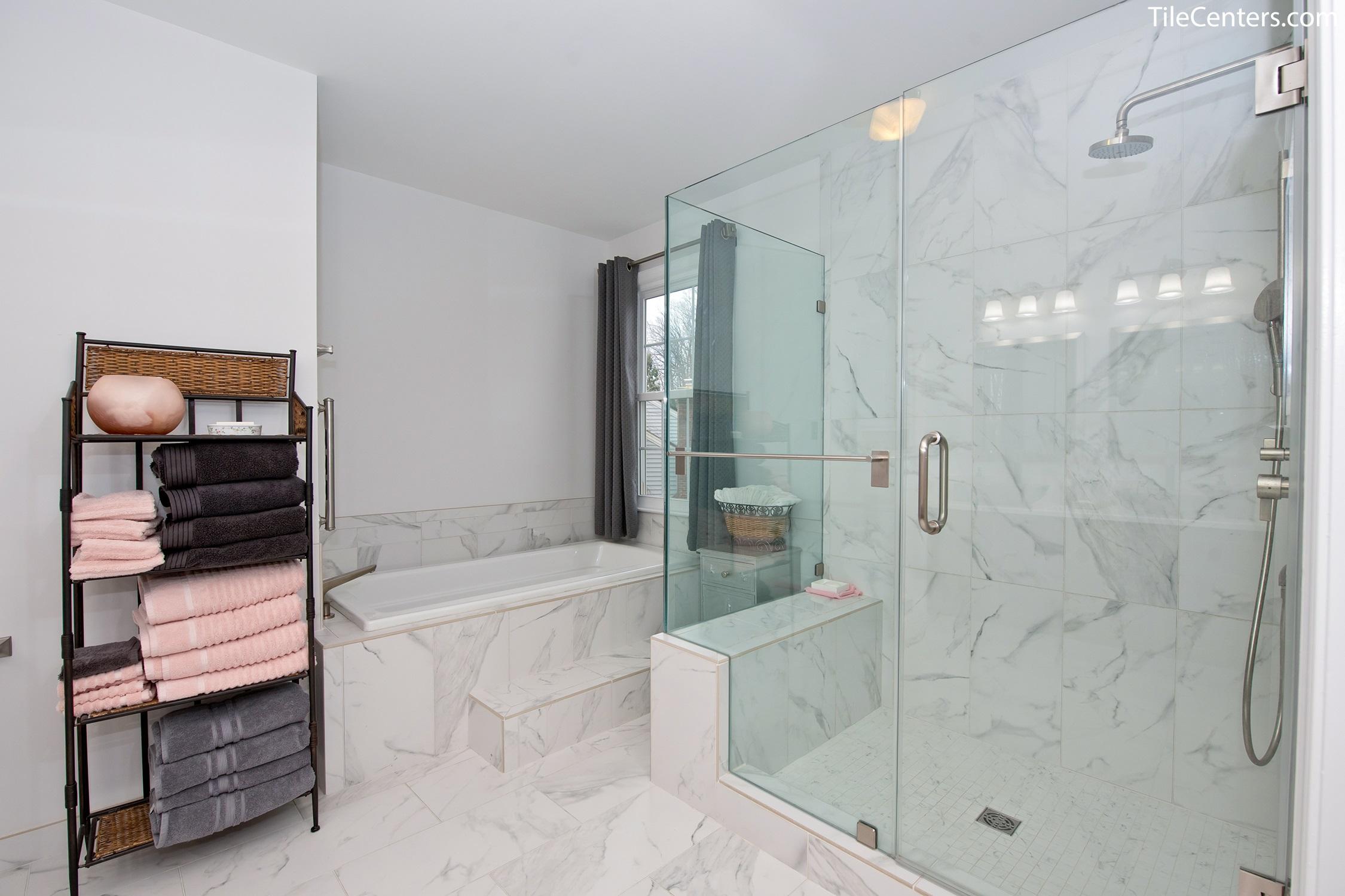modern master bathroom remodel marble