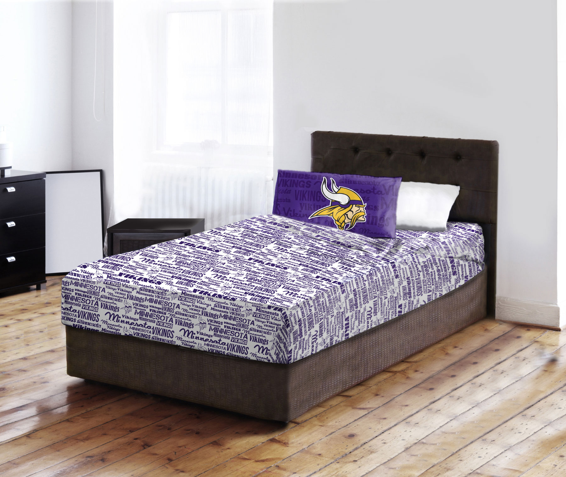 Nfl Minnesota Vikings Anthem Bed Sheets And Pillowcase Set