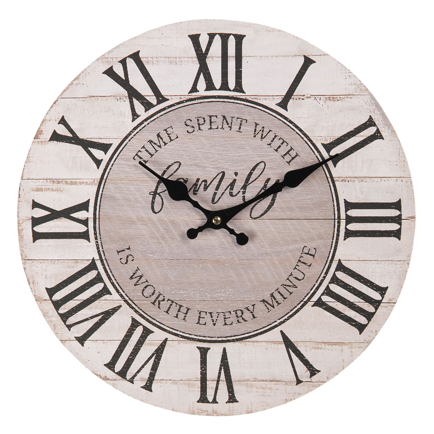 Shabby Chic Style Family Time Round Wall Clock Wood Effect