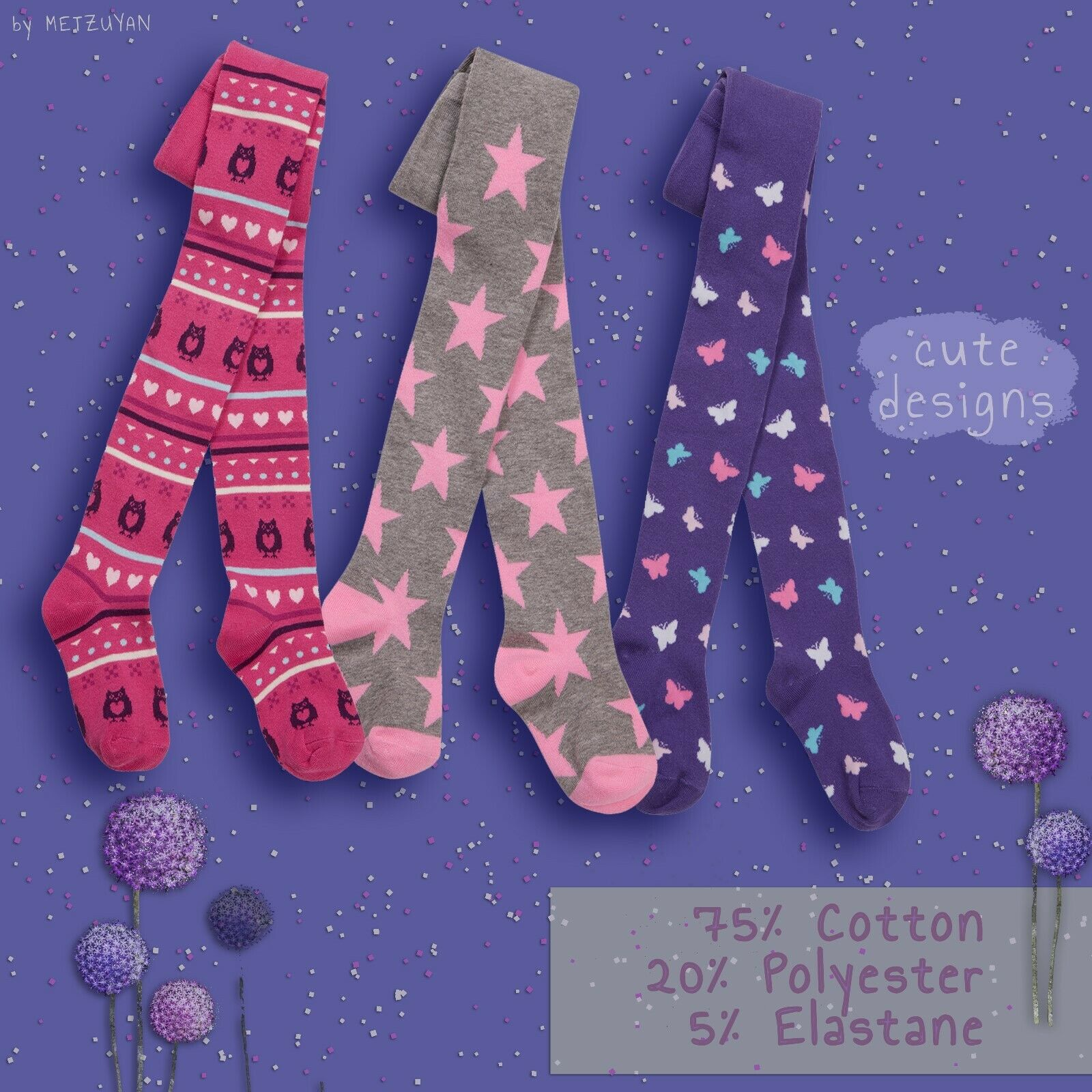 Girls Infant 3 Pairs Tights Cotton Rich Unicorn Hearts