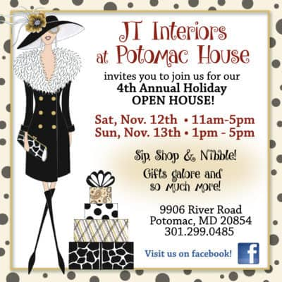JT Interiors Holiday Open House: https://www.facebook.com/jtinteriorspotomac/#