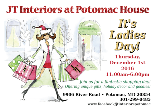 JT Interiors Ladies Day: https://www.facebook.com/jtinteriorspotomac/?hc_ref=PAGES_TIMELINE&fref=nf
