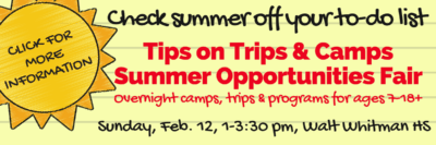 2017 Tips on Trips & Camps Summer Opportunities Fair yellow ad