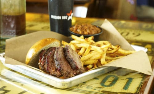 Brisket, fries and beans at Mission BBQ