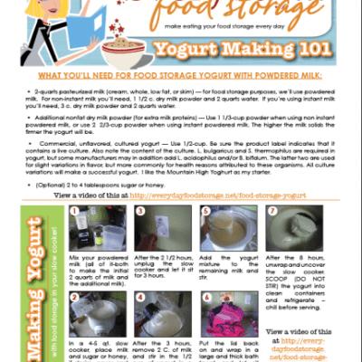 Food Storage Yogurt FREE HANDOUT!