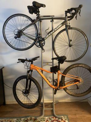 double bike freestanding rack heavy duty