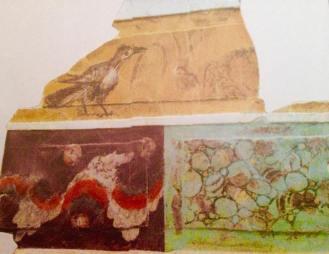 """Decorazione Oecus Casa del Naviglio, uccello e """"finto marmo""""."""