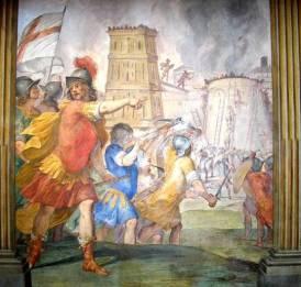 Guglielmo Embriaco alla guida dei suoi Crociati genovesi (affresco nel palazzo ducale di Genova)