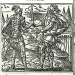Aiace ed Ettore si scambiano doni, Xilografia da Andrea Alciato, Emblematum libellus, 1591.