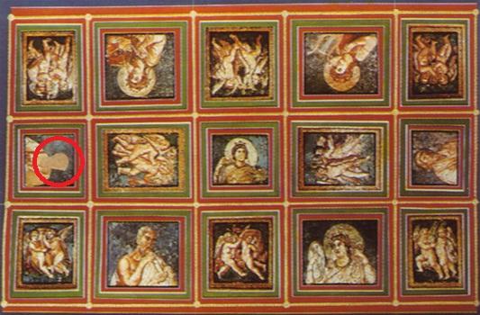 Affresco soffitto Palazzo di Crispo, nel cerchio il ritratto cancellato di Crispo.