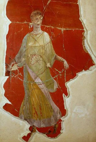 A dancer. Fresco from Magdalensberg, Carinthia, Austria. This capital of Celtic Noricum was a centre of steel and iron trade with Rome and Roman merchants settled there even before all of Noricum became a Roman province in 45 CE.