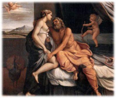 Zeus, per sedurre Alcmane, si trasforma nel marito Anfitrione