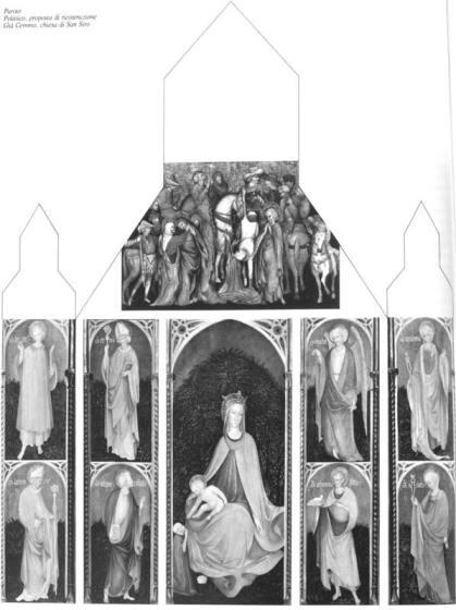 Ipotesi di ricostruzione del Polittico di San Siro a Cemmo (Brescia) [da Tartuferi 1990]